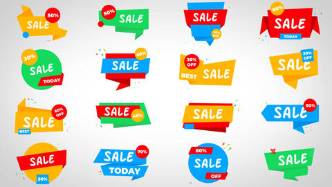Abstract Sale Stickers After Effects Template
