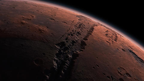 Mars Planet Rotating in the outer space.. Orbiting Planet Mars. Traveling to the Live Action