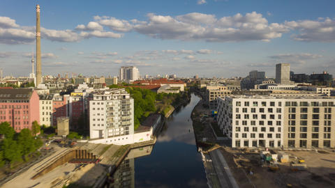 AERIAL: Beautiful Drone Hyper Lapse, Motion Time Lapse over Berlin River in Live Action