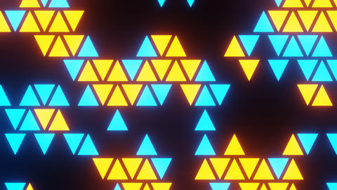 Blue Yellow Abstract Blink or Twinkle Triangle on Black Background in Flatlay View Animation