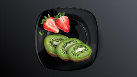 Still life of berries: kiwi and strawberries Animation