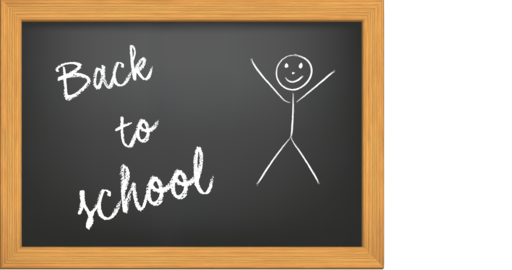 "Animation of the writing ""Back to school"" in chalk on a black chalkboard with stylized kid appearing Live Action"