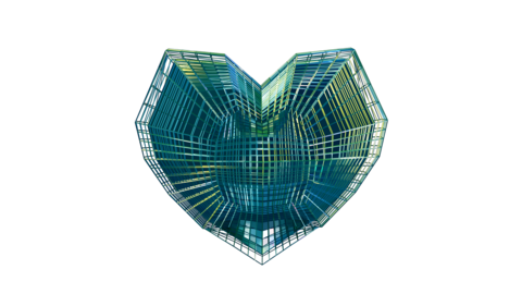 Futuristic Tech Wireframe Heart Animation