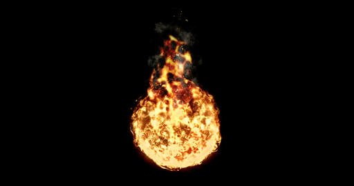 ball of real flame fire with smoke in black background, dangerous Live Action