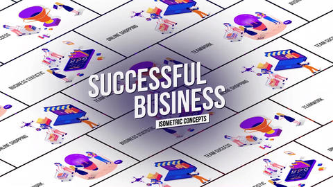 Successful business isometric concept After Effects Template