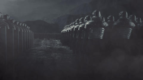 Roman Legion Standing in Front of an Enemy Army in a Battlefield Live Action