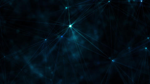 Abstract technology background with blue shiny glowing stars and streaks Animation