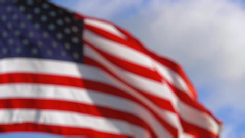 American Flag in Slow Motion. BLURRED BACKDROP Live Action