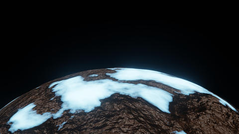 Ice Planet or Ice Age Cold World Rotate Motion Background on Half Frame Animation