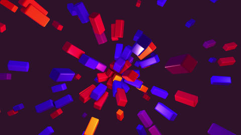 Abstract colorful cube explode from center.Motion graphic color shape element Animation