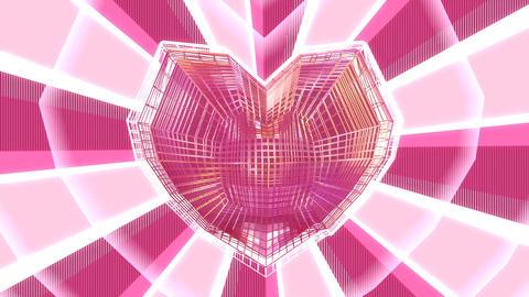 Cute Kawaii wireframe heart background CG動画