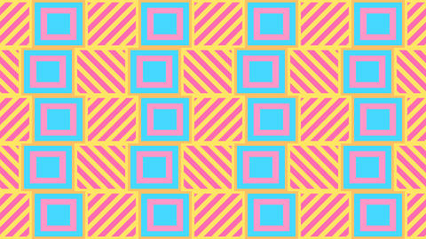 Cute Kawaii Colorful Pastel tile pattern Animation