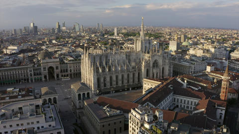 1 Milan Italy Aerial View Of Duomo Square With Cathedral Live Action