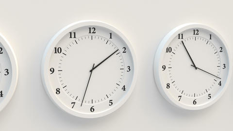 Close-up of the white clock face in a looped animation of the passage of time Animation