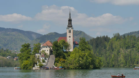 Iconic Church Island at Bled Lake TimeLapse 4K UHD Slovenia Tourism Live Action