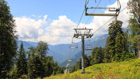 Chairlift. TimeLapse. Zoom. Gazprom center, Sochi, Russia Footage