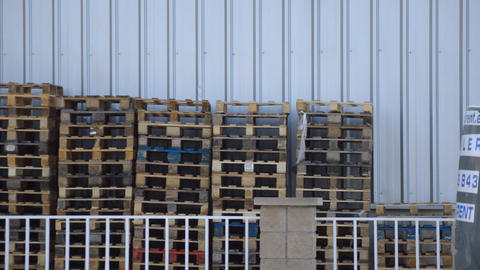 Pallets Stacked Outside Footage