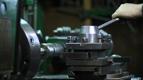Operator working at old lathe machine Footage