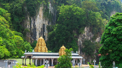 View of Mountains and Hindu Temple in Batu Caves Footage