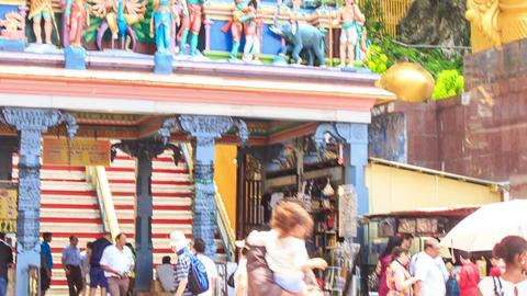 Tourists Buy Souvenirs Go up Entrance Main Steps to Batu Caves Footage