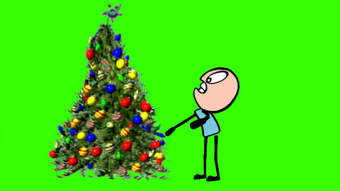 Cartoon Stick Man, Attacked by Christmas Tree: Green Screen + Loop Animation