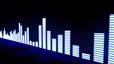 Music control levels. Glow blue audio equalizer bars moving with the reflection Animation