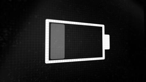 Looped animated background with charging battery icon white color on the black p Animation