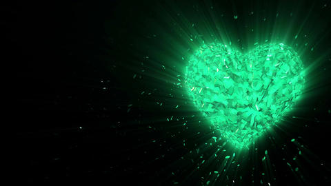 Abstract looped animated background: Rotating luminous 3d emerald heart formed p Animation