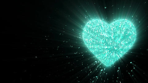 Abstract looped animated background: Rotating luminous 3d frozen heart formed pi Animation