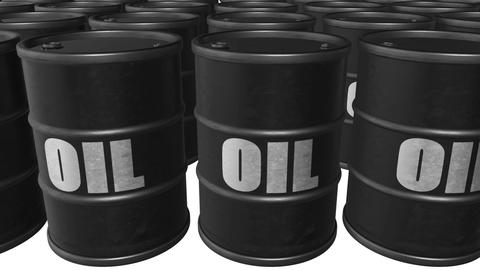 """Looped animated background with black barrels with text """"oil"""". White background. Animation"""