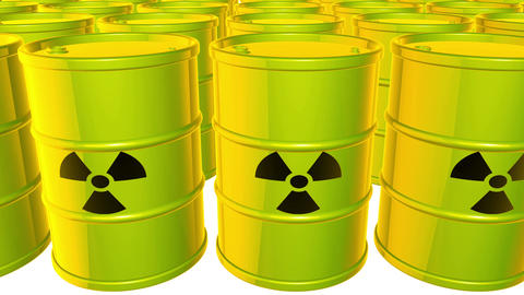 Looped animated background with acid-green-yellow barrels with black sign of rad Animation