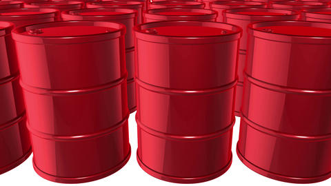 Looped animated background with red oil barrels. White background. 4k. Seamless Animation