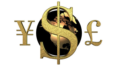 Animated 3d world golden currencies rotate around the black-yellow Earth. White Animation