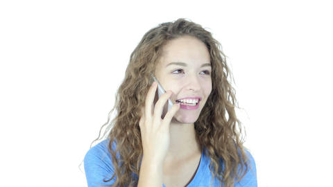 Woman Busy Talking On Smartphone, White Background Footage