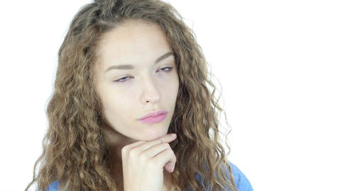 Thinking, Close Up of Female Face, Pensive Woman Footage