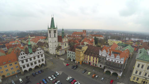Aerial shot of beautiful old European city, central square, tourist attraction Footage