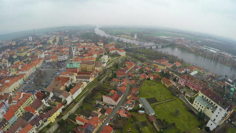 Aerial shot of European city with historic architecture, view from helicopter Footage