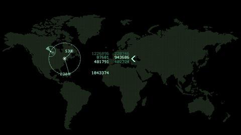 4k Global GPS data detect earth map military radar GPS navigation interface Footage