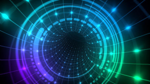 Cyber tunnel Neon tube Animation