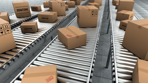 Donation in the cardboard boxes which moving on conveyor belt, seamless loop Animation