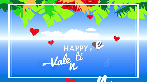 warm valentines day banquet with flowers and plants of brilliant colours decorating a clean sky Animation