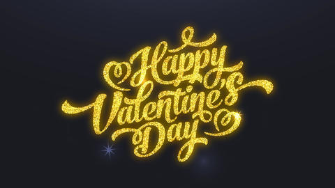 cheerful valentines day romance written with yellow shimmering with hearts brilliant over a black Animation