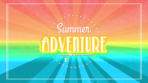 summertime exploration excursion corporation with retro typography in spotted curve with aged sun Animation