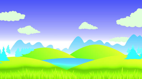 scenic view with green highland under a clean blue blue sky with conifer jungle and huge shadows of Animation