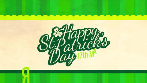 happy saint patricks day celebration message written with classic typography font drafted on a Animation