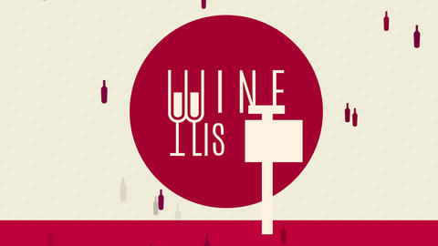 menu covering for wine list written with long stylish typography blending eyeglasses with letters Animation