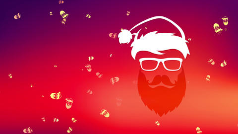 cool merry christmas built with facial silhouette of beard hippie santa claus claus wearing Animation