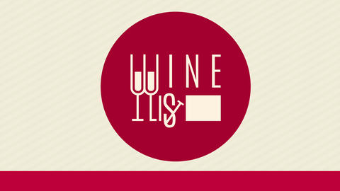 menu cover for wine list written with long elegant typography combining glasses with letters and Animation
