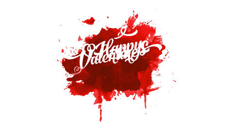 blood valentines day with white glassy and curly typography in the center of colourful red Animation