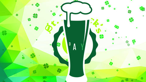 st patricks day advertisement with a green brew glassware with flooding froth internal disk mark Animation